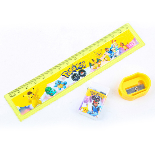 Childrens Wood Pencil with Ruler Eraser Set Image 4