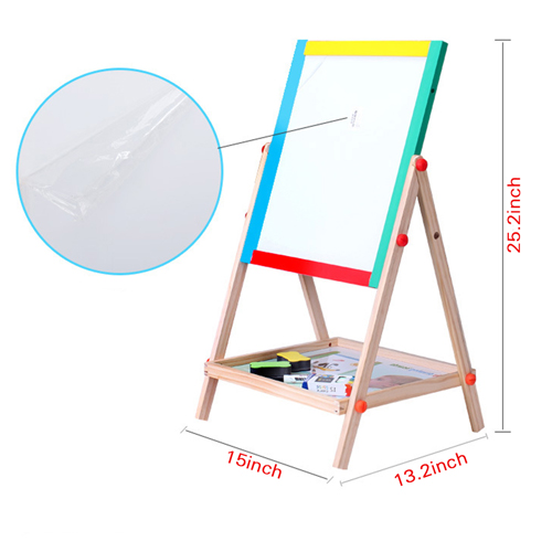 Double Sided Wooden Magnetic Drawing Board Image 1