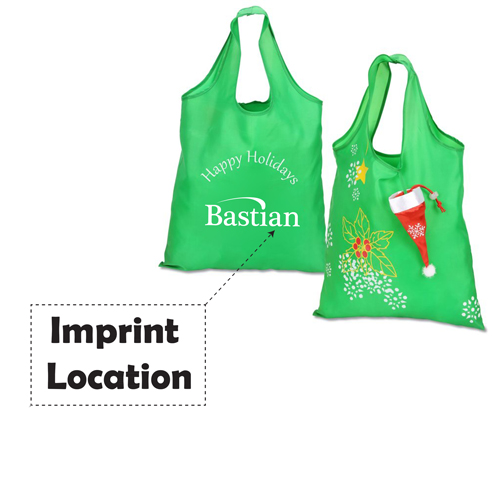 Stocking Folding Tote With Drawstring Closure Imprint Image