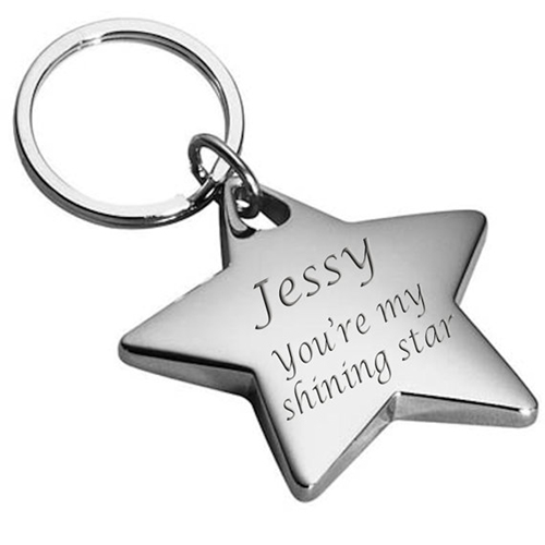 Star Shaped Metal Keychain