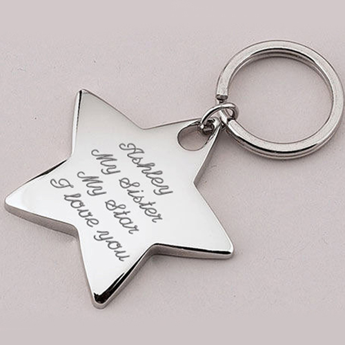 Star Shaped Metal Keychain Image 2