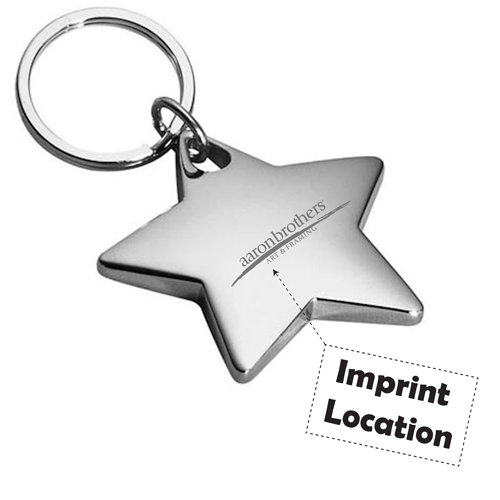 Star Shaped Metal Keychain Imprint Image