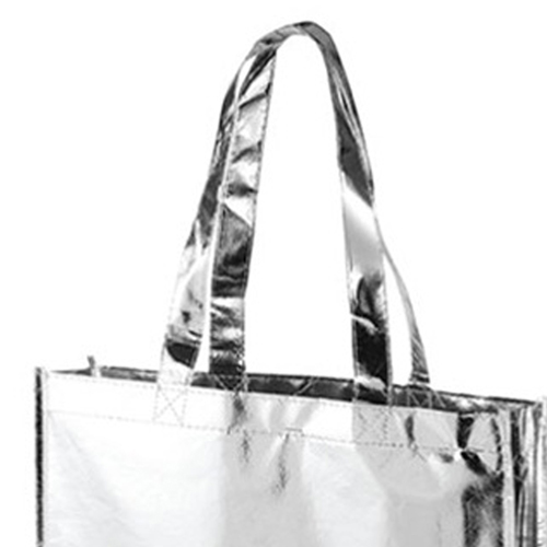 Laminated Metallic Tote Bag With Handle Image 2