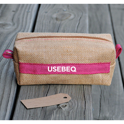 Laminated Jute Cosmetic Bag Image 1