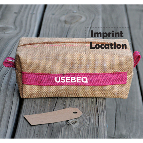 Laminated Jute Cosmetic Bag Imprint Image