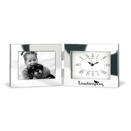 Fold-Up Desk Clock With Photo Frame