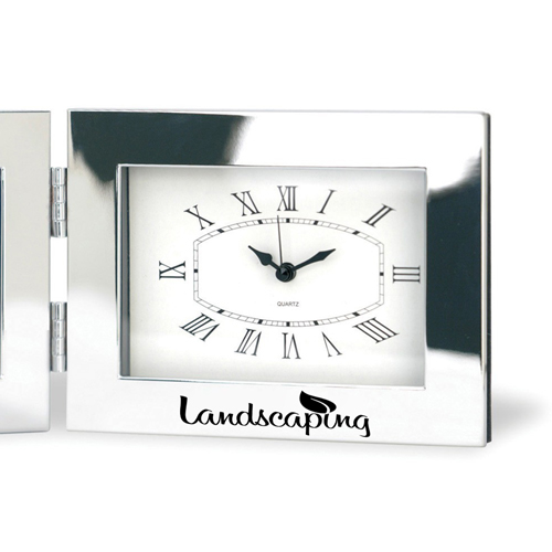 Fold-Up Desk Clock With Photo Frame Image 2