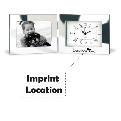 Fold-Up Desk Clock With Photo Frame Imprint Image