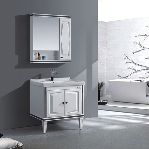High-End Bathroom Cabinet with Ceramic Basin