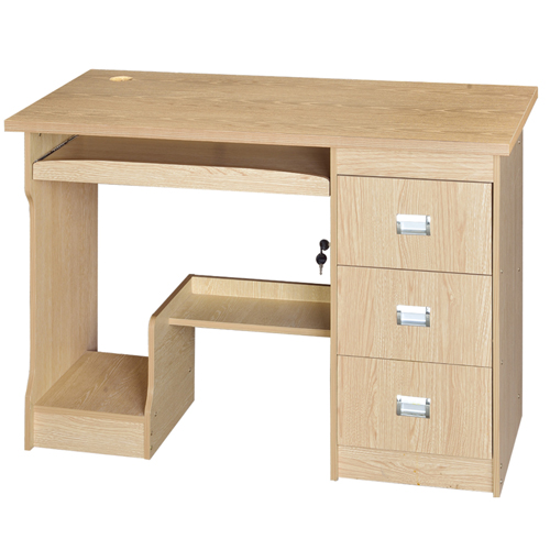 Natural Finish 3 Drawer Computer Table Image 1