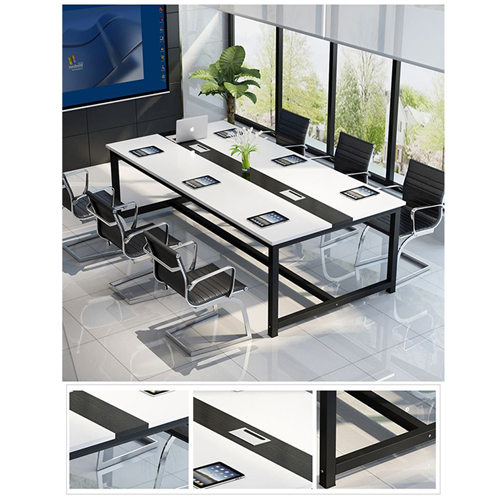 Modern Conference Table With Wood Strip Binding Image 10
