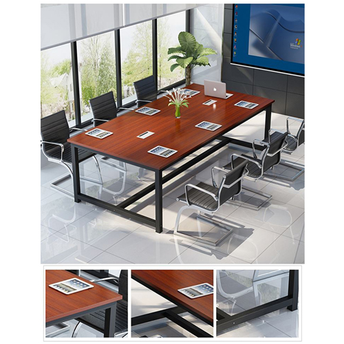 Modern Conference Table With Wood Strip Binding Image 11