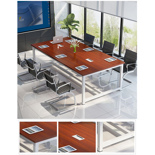 Modern Conference Table With Wood Strip Binding Image 12