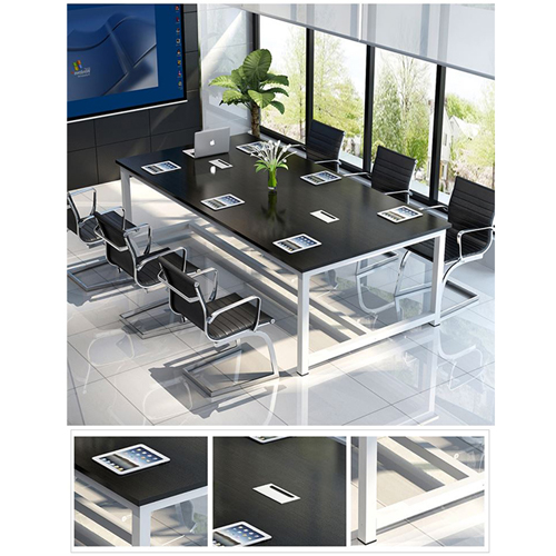 Modern Conference Table With Wood Strip Binding Image 14