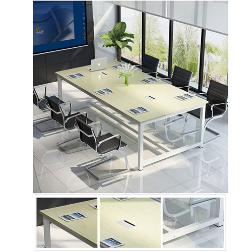 Modern Conference Table With Wood Strip Binding Image 15