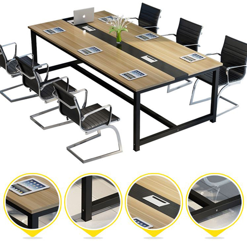 Modern Conference Table With Wood Strip Binding