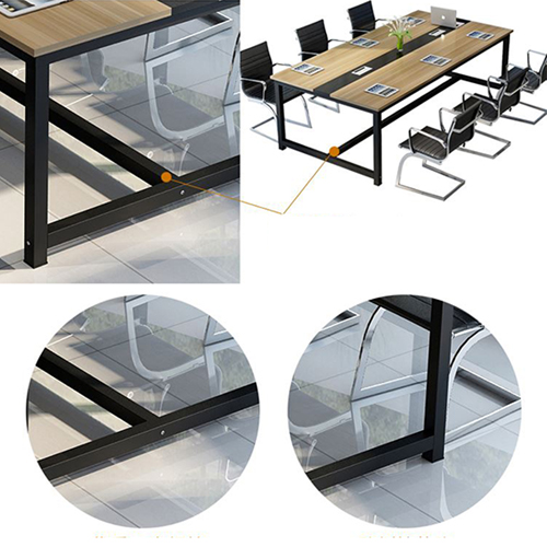 Modern Conference Table With Wood Strip Binding Image 17