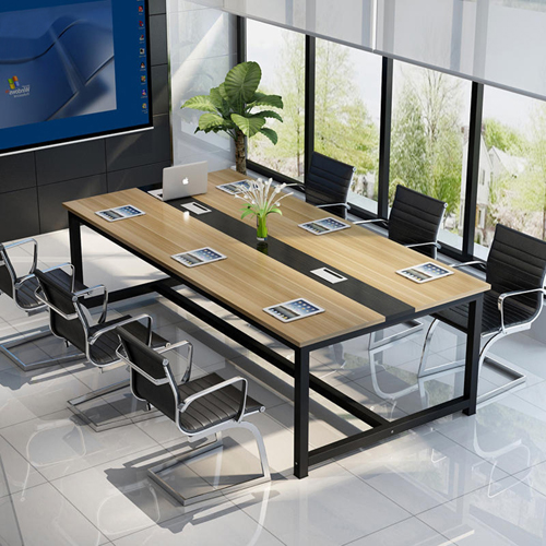 Modern Conference Table With Wood Strip Binding Image 1