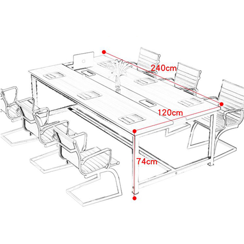 Modern Conference Table With Wood Strip Binding Image 20