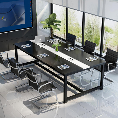 Modern Conference Table With Wood Strip Binding Image 2