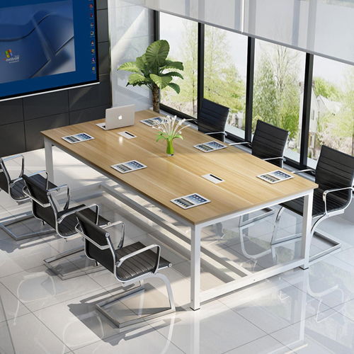 Modern Conference Table With Wood Strip Binding Image 3