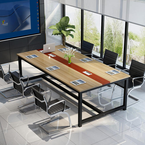Modern Conference Table With Wood Strip Binding Image 4