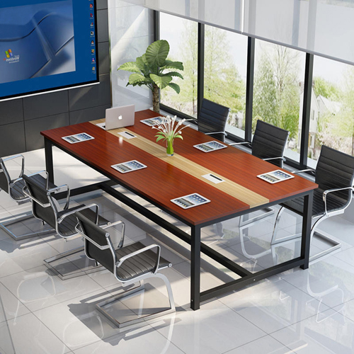 Modern Conference Table With Wood Strip Binding Image 5