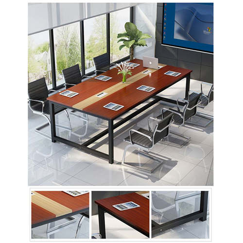 Modern Conference Table With Wood Strip Binding Image 7