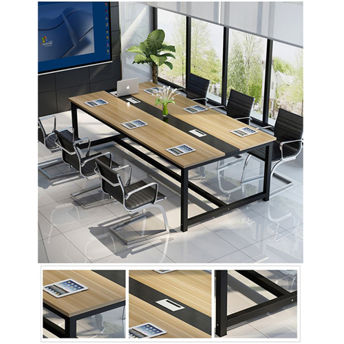 Modern Conference Table With Wood Strip Binding Image 8
