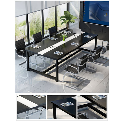 Modern Conference Table With Wood Strip Binding Image 9