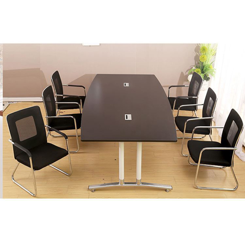Oval Conference Table with Wire Box