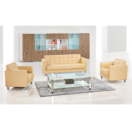Sleeky Leather Reception Guest Sofa Set Image 9