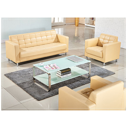 Sleeky Leather Reception Guest Sofa Set Image 10