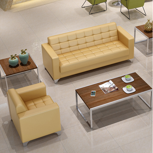 Sleeky Leather Reception Guest Sofa Set Image 12