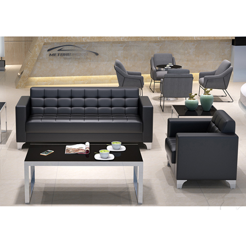 Sleeky Leather Reception Guest Sofa Set Image 13
