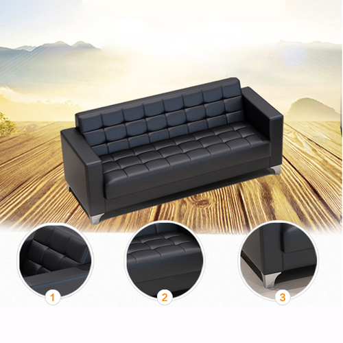 Sleeky Leather Reception Guest Sofa Set Image 14