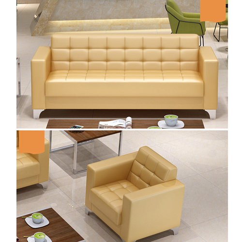 Sleeky Leather Reception Guest Sofa Set Image 18