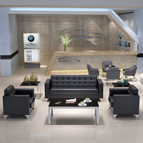 Sleeky Leather Reception Guest Sofa Set Image 1
