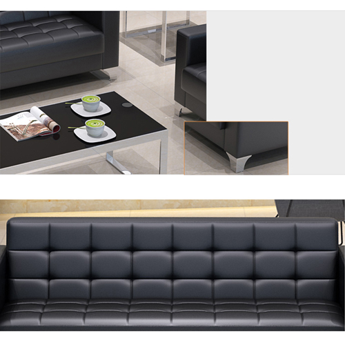 Sleeky Leather Reception Guest Sofa Set Image 22