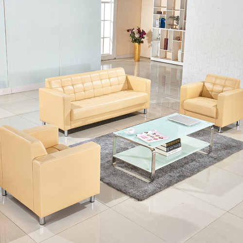 Sleeky Leather Reception Guest Sofa Set Image 2