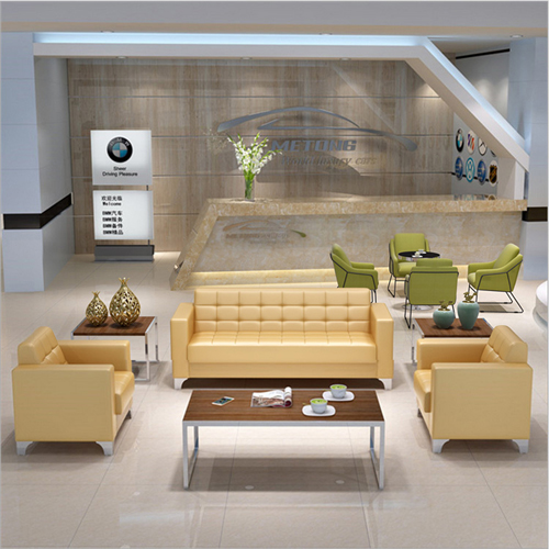 Sleeky Leather Reception Guest Sofa Set Image 4
