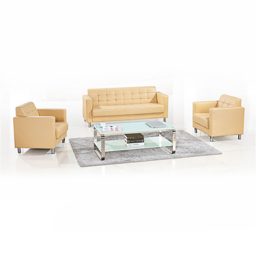Sleeky Leather Reception Guest Sofa Set Image 5
