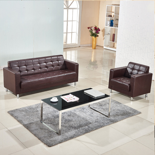 Sleeky Leather Reception Guest Sofa Set Image 6