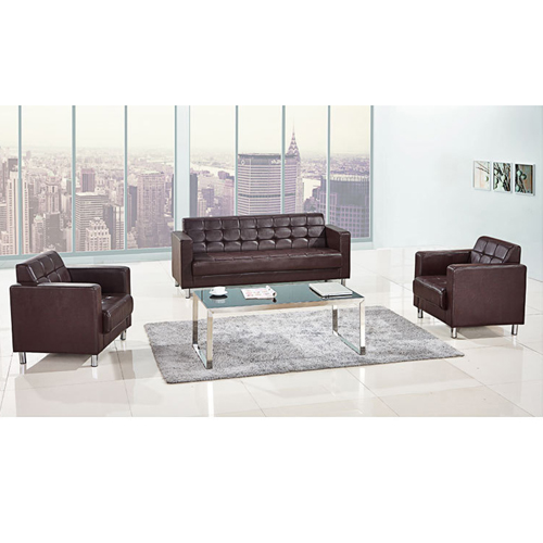 Sleeky Leather Reception Guest Sofa Set Image 7