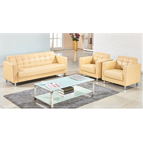 Sleeky Leather Reception Guest Sofa Set Image 8