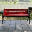 Outdoor Cast Iron Wooden Garden Bench Image 1