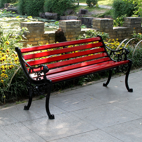 Outdoor Cast Iron Wooden Garden Bench Image 2