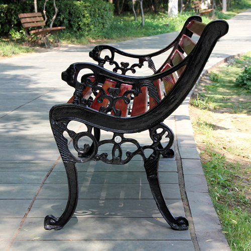 Outdoor Cast Iron Wooden Garden Bench Image 3