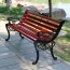 Outdoor Cast Iron Wooden Garden Bench Image 4