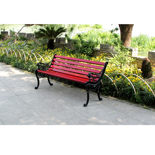 Outdoor Cast Iron Wooden Garden Bench Image 5
